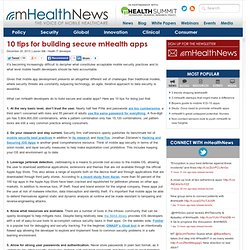 10 tips for building secure mHealth apps