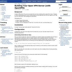 Building Your Open VPN Server (with OpenVPN)