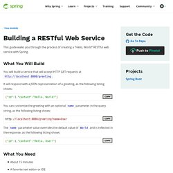 Getting Started · Building a RESTful Web Service