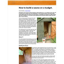 Building a sauna - How to build a basic sauna