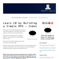 Learn C# by Building a Simple RPG – Index – ScottLilly.com