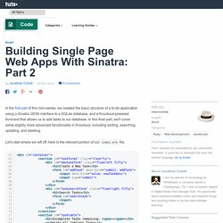 Building Single Page Web Apps With Sinatra: Part 2