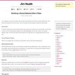 Building a Social Network Site in Rails