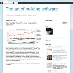 The art of building software: Ruby and the Three P's versus Java and the Argonauts