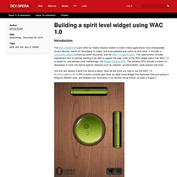 Building a spirit level widget using WAC 1.0