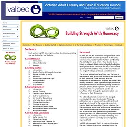 VALBEC - Building Strength with Numeracy - Contents