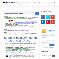 Building Traffic Through The Rel=Author Tag