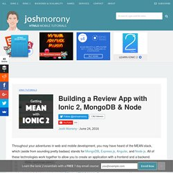 Building a Review App with Ionic 2, MongoDB & Node