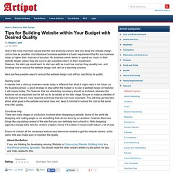 Tips for Building Website within Your Budget with Desired Quality
