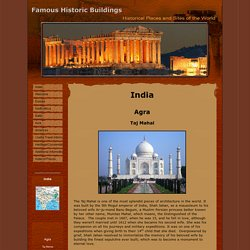 Famous Historic Buildings & Archaeological Sites in India – Agra, Taj Mahal, Red Fort, Baby Taj,