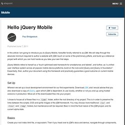 Hello jQuery Mobile » BuildMobile