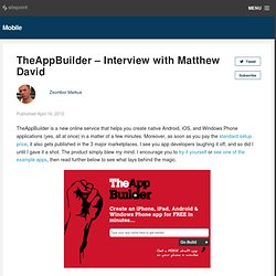 TheAppBuilder - interview with Matthew David