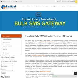 Leading Bulk SMS Service Provider Chennai - Radical Tech Support
