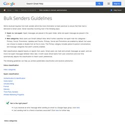 GMail info for Bulk Email Senders