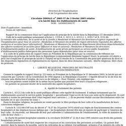 Circulaire du 2 février 2005 relative à la laïcité dans les établissements de santé