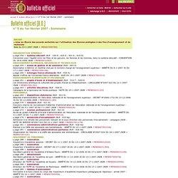 Bulletin officiel du 1er février 2007