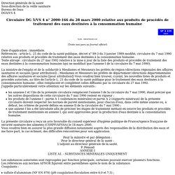 SOCIAL-SANTE_GOUV_FR - Circulaire DG 5/VS 4 n° 2000-166 du 28 mars 2000 relative aux produits de procédés de traitement des eaux destinées à la consommation humaine