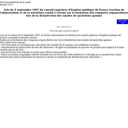 Avis du 9 septembre 1997 du conseil supérieur d'hygiène publique de France (section de l'alimentation et de la nutrition) relatif à l'étude sur la formation des composés organochlorés lors de la désinfection des salades de quatrième gamme