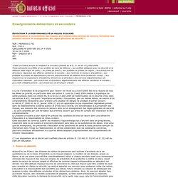 Bulletin officiel n° 33 du 14 septembre 2006