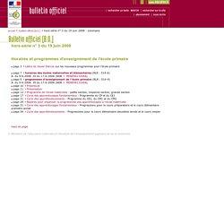 Bulletin officiel hors-série n° 3 du 19 juin 2008 - Sommaire