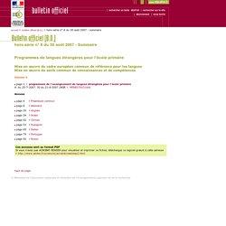 Bulletin officiel hors-série n° 8 du 30 août 2007 - ENSEIGNEMENT DES LANGUES