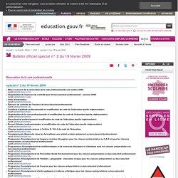 Bac Pro 3 ans (BO spécial n° 2, 19 février 2009)