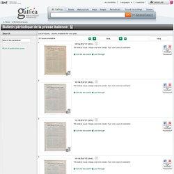 Bulletin périodique de la presse italienne : 1915-1940 (30 unités disponibles ; Unités disponibles pour une année)