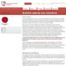 Bulletin spécial aux membres