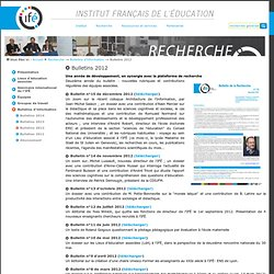 Bulletins 2012 — Site de l'Institut Français de l'Education