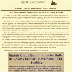 Bullitt County History - 1912 School Exam