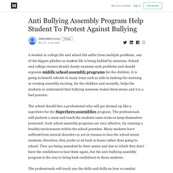 Anti Bullying Assembly Program Help Student To Protest Against Bullying