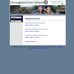 Bullying Prevention - Framingham Public Schools
