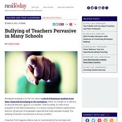 Bullying of Teachers Pervasive in Many Schools
