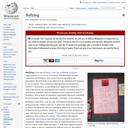 Bullying - Wikipedia