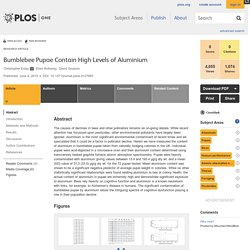 PLOS 04/06/15 Bumblebee Pupae Contain High Levels of Aluminium