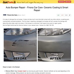 Auto Bumper Repair - Finora Car Care- Ceramic Coating & Smart Repair