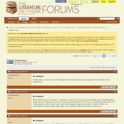 Bunburying - The Literature Network Forum