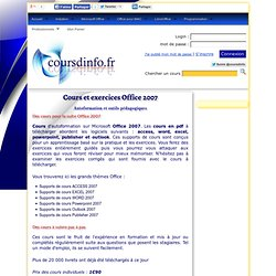 Cours pdf Office 2007, formation sur office 2007