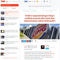 Burger King Twitter account gets hacked, claims chain sold to McDonald's