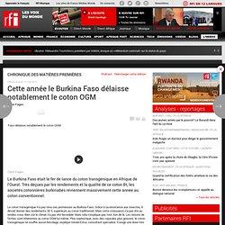 RFI 10/05/12 Cette année le Burkina Faso délaisse notablement le coton OGM