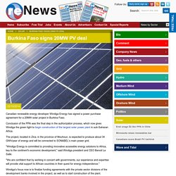 Burkina Faso signs 20MW PV deal - Solar