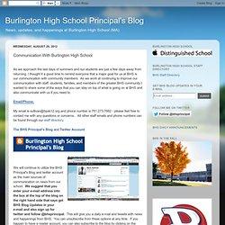 Burlington High School Principal's Blog: Communication With Burlington High School