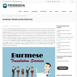 How Burmese Translation Services In Chennai Is A Key To Success For You ?