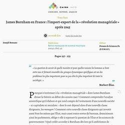 James Burnham en France: l'import-export de la «révolution managériale» après 1945