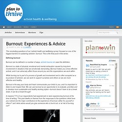 Burnout: Experiences & Advice