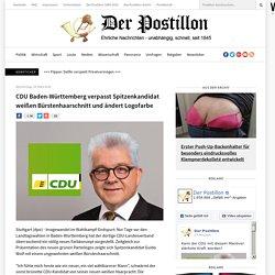 CDU Baden-Württemberg verpasst Spitzenkandidat weißen Bürstenhaarschnitt und ändert Logofarbe