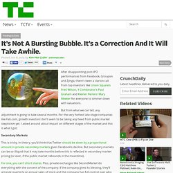 It's Not A Bursting Bubble. It's a Correction And It Will Take Awhile.