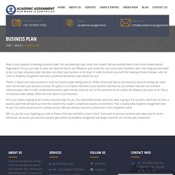 Business Plan - Academic Assignment