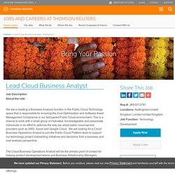 Lead Cloud Business Analyst Job in Nottingham,