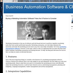 Buying a Marketing Automation Software? Here Are 5 Factors to Consider